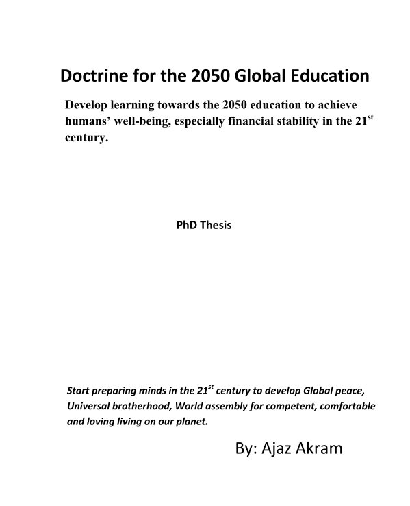 View Doctrine for the 2050 Global Education by Ajaz Akram