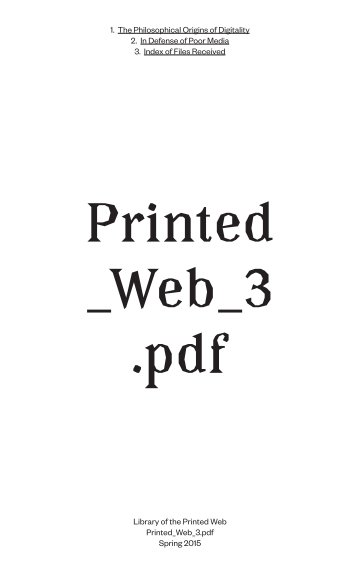 View Printed Web 3 Index/Reader by Library of the Printed Web