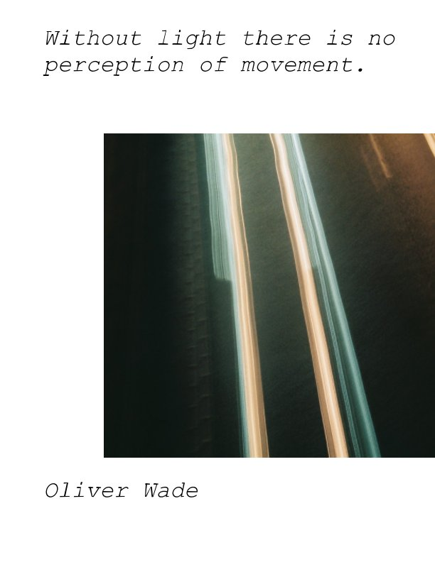 View Without light there is no perception of movement by Oliver Wade