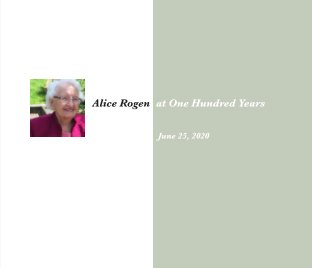 Alice Rogen at One Hundred Years book cover