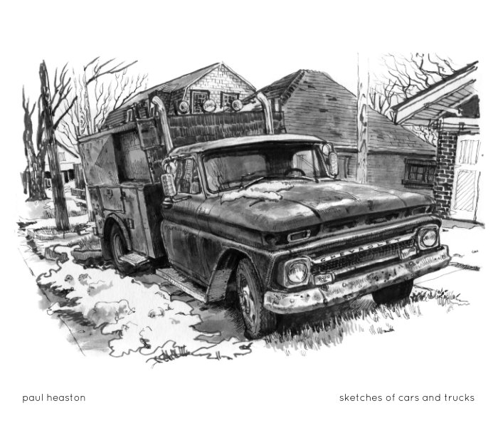 View sketches of cars and trucks by Paul Heaston