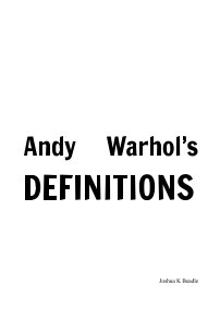 Andy Warhol's Definitions book cover