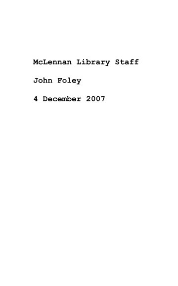 View McLennan Library Staff by John Foley