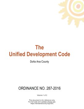 Doña Ana County Unified Development Code Volume 1 book cover