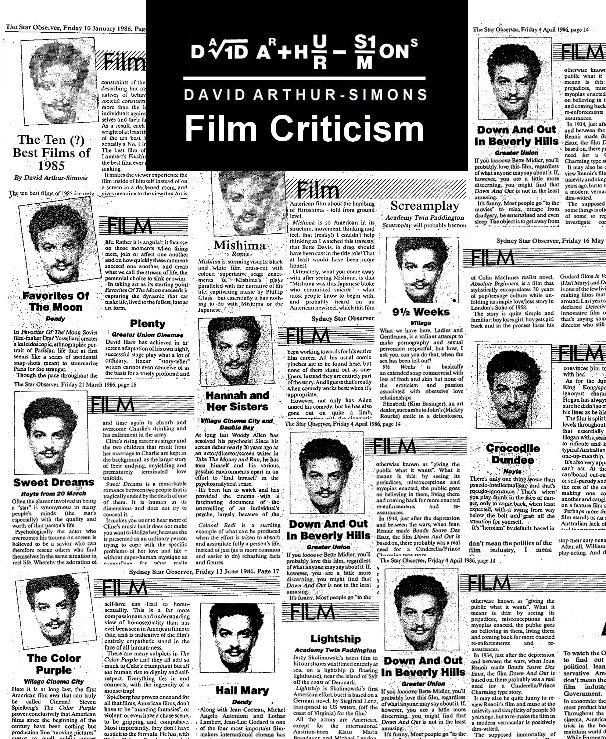 Film Criticism By David Arthur Simons Blurb Books