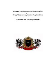 General Purpose Security Dog Handler,  Drugs and Explosives and Service Dog Handlers Continuation Training Records book cover